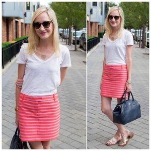 j. crew // textured stripe mini skirt pink orange